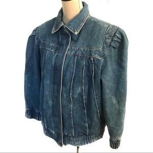 Vintage denim jean peplum 80's Bomber Jacket coat